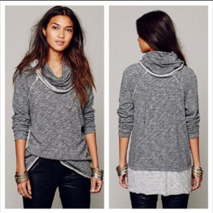 FP Beach Gray Cowl Neck Cocoon Knit Tunic M L